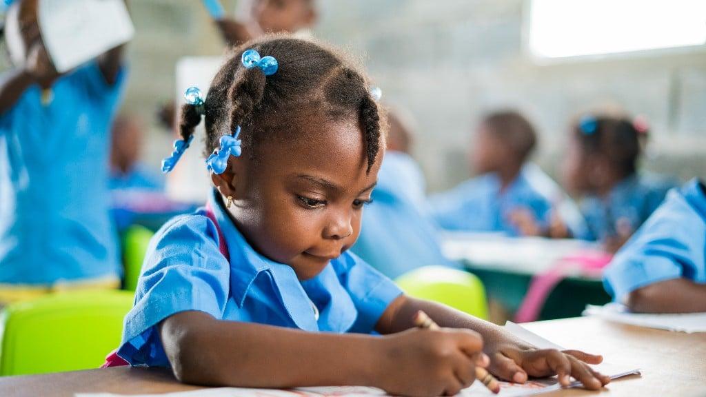 little girl doing school work